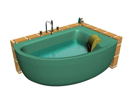 green whirlpool tub with taps