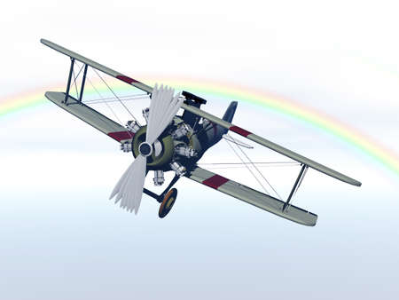 historic biplane in the sky Фото со стока