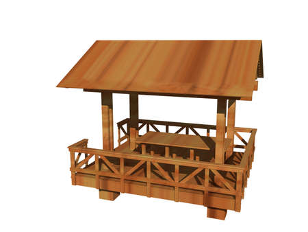 wooden garden shed with railings and stairs