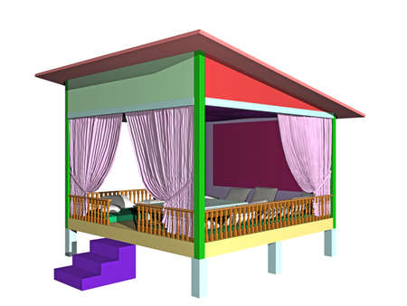 colorful garden shed with towels and pillows