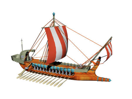 antique galley with oars and sails