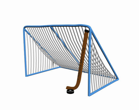 Ice hockey goal with racket on the ice
