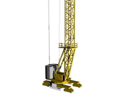yellow construction crane with steel struts Stock Photo