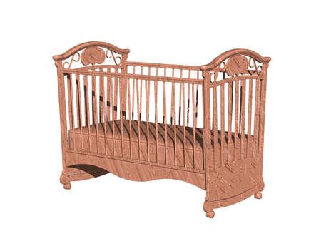 wooden baby cradle in nursery