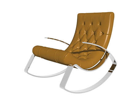 brown comfortable leather armchair for rocking