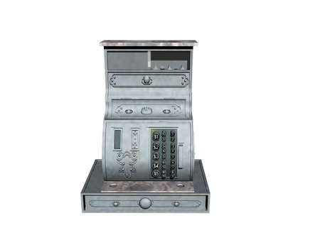 old fashioned analog cash register with buttons