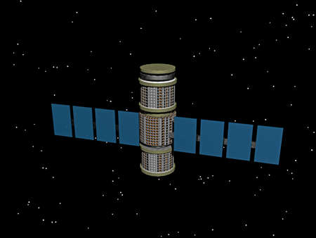 Space station and spaceship in space