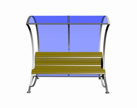 Bus stop with bench and glass roof
