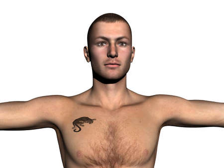 young strong muscular man with panther tatoo
