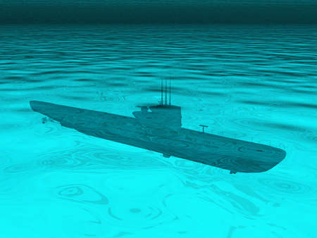 Submarine with propeller drive Stock Photo