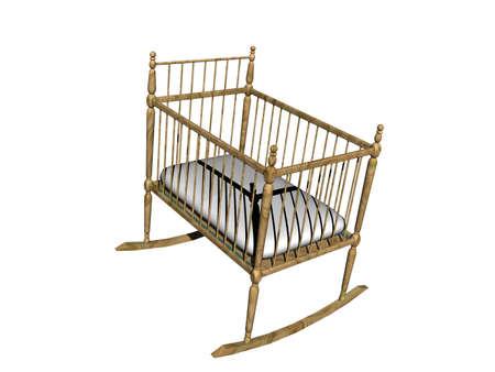 wooden baby cradle in the nursery Standard-Bild