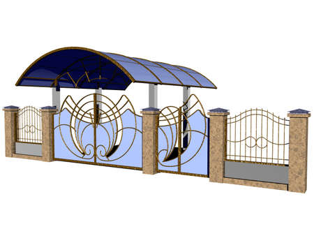 Wrought iron fence with gate and canopy