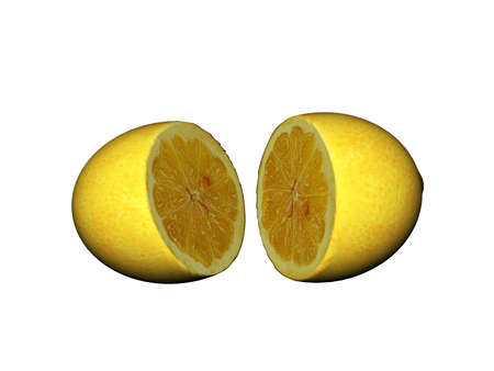 sour yellow lemon divided into half
