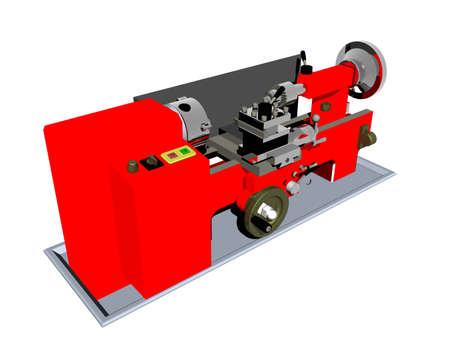 heavy red steel lathe in the workshop Stockfoto