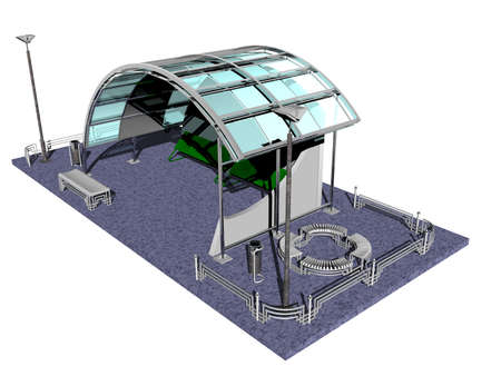 Bus station with roof and seats