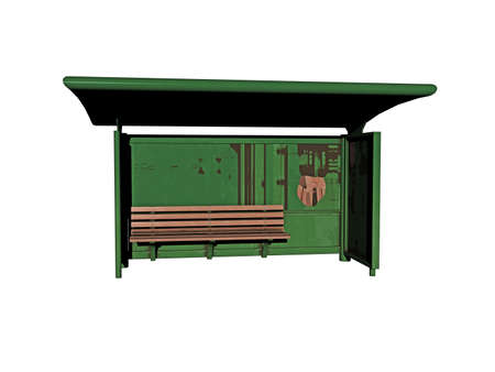 green bus stop with shelter and bench
