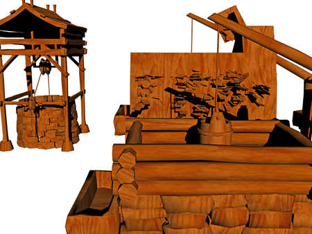 Western town made of wood with fountain