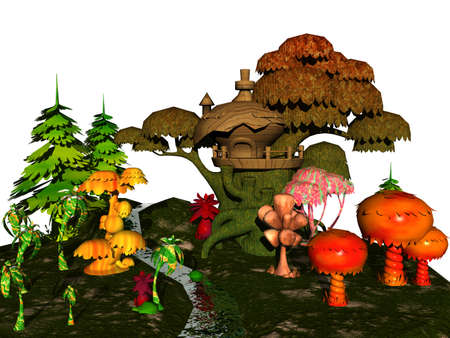 fairytale landscape with mushrooms and dwarf house