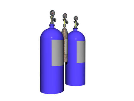 blue steel compressed air cylinders for diving