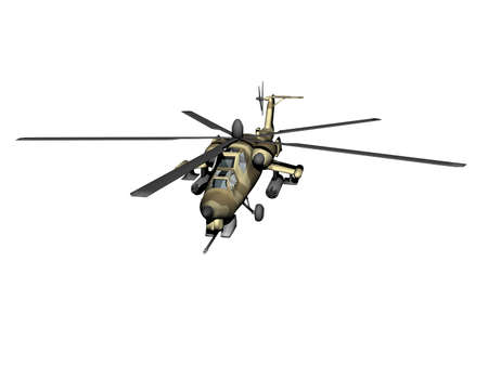 Helicopter with camouflage colors in the sky