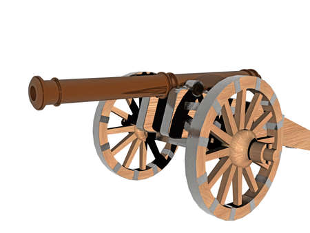 heavy antique cannon on a mobile carriage