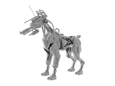 shiny metallic robot dog