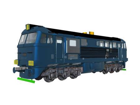 blue steel diesel locomotive as a tractor