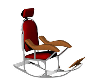 red upholstered rocking chair with headrest