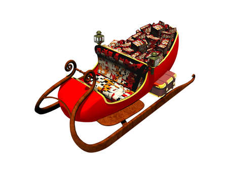 santa claus red sledge with many gifts
