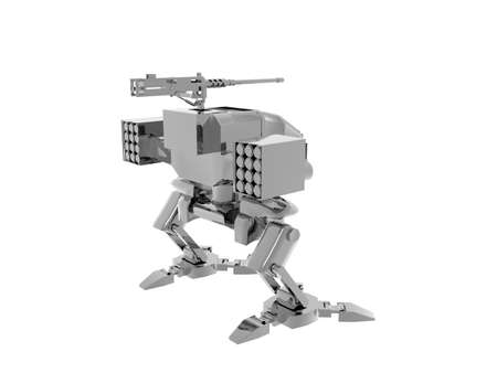 two-legged robot with weapons as a guard dog