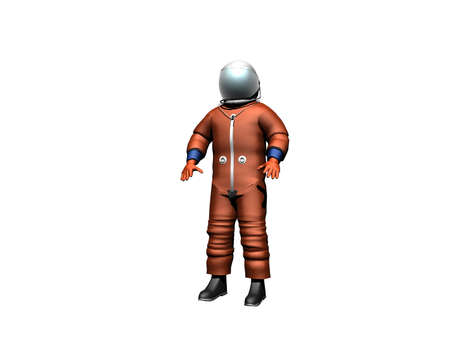 Astronaut in an orange colored spacesuit