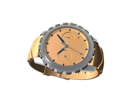 gold men's wristwatch with dial