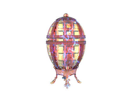 golden Fabergé egg as table decoration Stock Photo