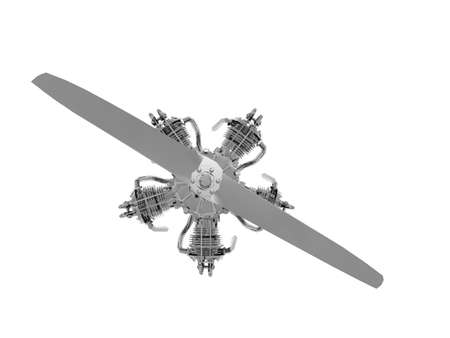 star-shaped steel airplane engine with propeller