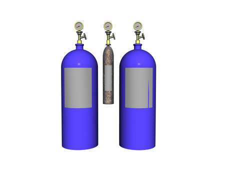 blue steel compressed air cylinders for diving 版權商用圖片