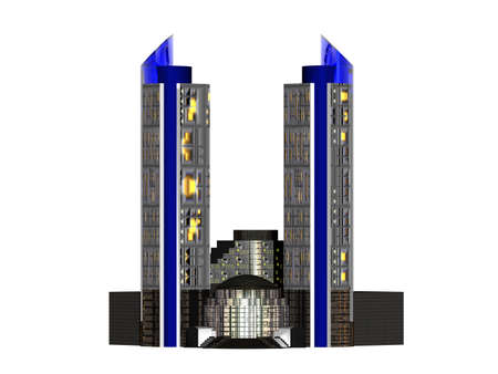 Skyscraper in metropolis with two towers