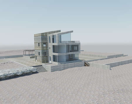 large villa with glass surfaces
