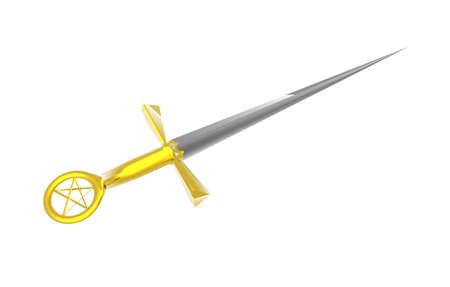 antique dagger with golden handle Stock Photo