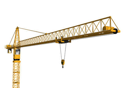 yellow construction site crane with steel struts Stock Photo