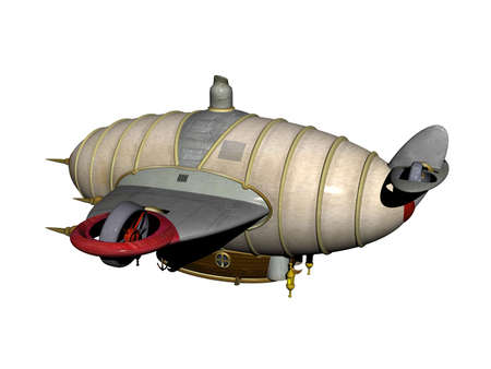 futuristic zeppelin with gas filling