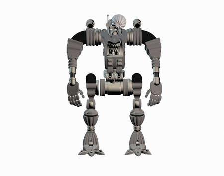 heavy metallic robot as security guards