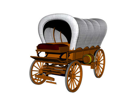 Carriage with loading area and drawbar as a covered wagon