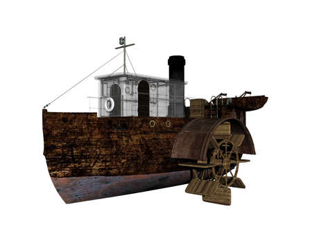 old wooden paddle steamer on the sea