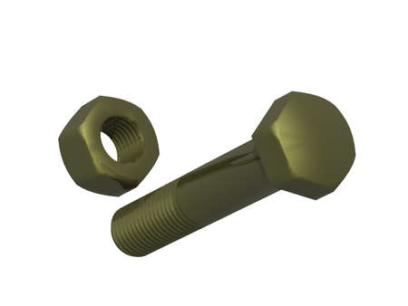 Metal screws with hex head and nut