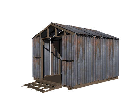old rusty corrugated iron shed