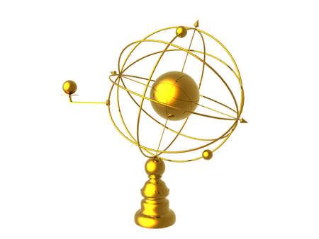 golden astrolabe on the desk