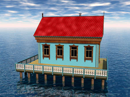 old boathouse in the water with red roof