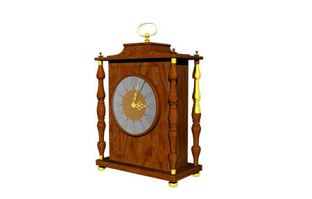 wooden mantle clock with decorations and dial