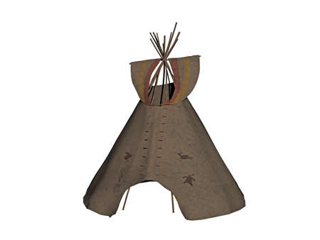 Indian tent with sticks and animal skins