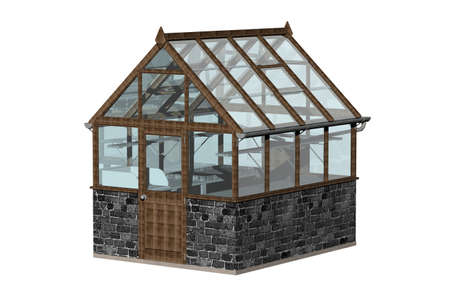 small greenhouse in the garden with glass panes